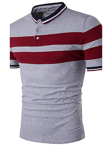 38926e350a891 Men s Active Plus Size Cotton Slim Polo - Striped Black   White Shirt  Collar   Short Sleeve