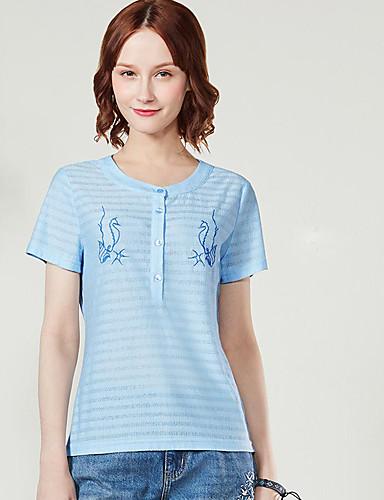 Naisten Lyhythihainen Pyöreä kaula-aukko Polyesteri Yksinkertainen Päivittäin Kausaliteetti T-paita,Kirjailu
