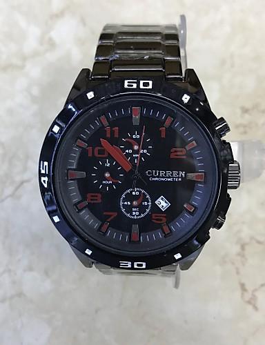 Pánské Křemenný Náramkové hodinky čínština Kalendář Velký ciferník Nerez Slitina Kapela Módní Cool Černá