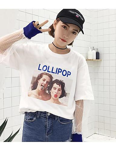 Damen Druck Retro Street Schick Ausgehen Lässig/Alltäglich Hemd,Rundhalsausschnitt Langarm Baumwolle
