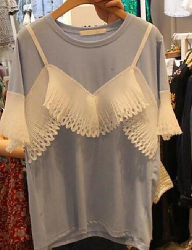 Damen Solide Druck Sexy Niedlich Ausgehen Party/Cocktail T-shirt,Rundhalsausschnitt Kurzarm Baumwolle