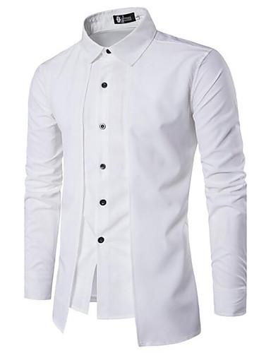 voordelige Herenoverhemden-Heren Chinoiserie Standaard Overhemd Katoen Effen Spread boord Slank Zwart / Lange mouw / Lente / Herfst