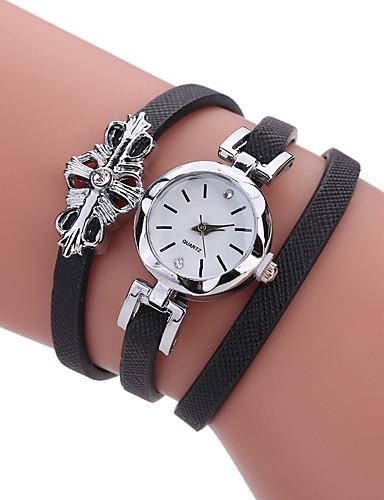 Mulheres Bracele Relógio Criativo / Legal PU Banda Amuleto / Luxo / Casual Preta / Branco / Cinza