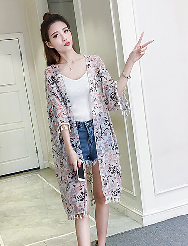 Damen Blumen Einfach Lässig/Alltäglich T-shirt,V-Ausschnitt Kurzarm Polyester