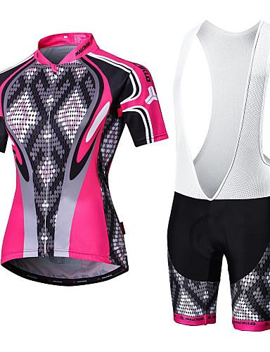 cheap Cycling Clothing-Malciklo Men's Women's Short Sleeve Cycling Jersey with Bib Shorts - White Black Argyle Plus Size Bike Clothing Suit Breathable 3D Pad Quick Dry Back Pocket Sports Coolmax® Lycra Argyle Mountain Bike
