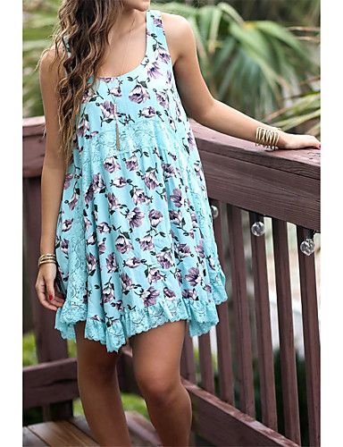 Damen Lose Etuikleid Kleid Einfach Street Schick Blumen Rundhalsausschnitt Übers Knie Ärmellos Seide Baumwolle Sommer Herbst Mittlere
