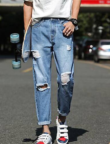 Dámské Jednoduchý Mikro elastické Džíny Kalhoty Štíhlý Mid Rise Jednobarevné