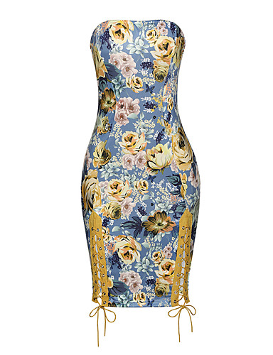 Women's Party / Club Bodycon Dress - Floral Cut Out / Floral Style / Printing Strapless / Sexy / Skinny