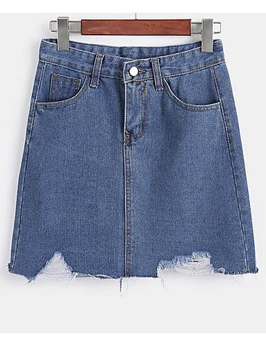Damen Urlaub Mini Röcke A-Linie einfarbig Sommer