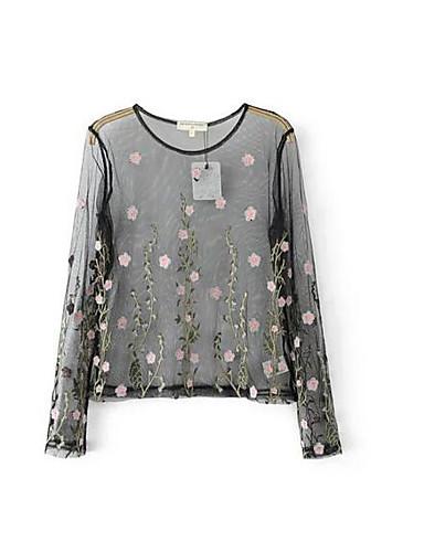 Damen Geometrisch Einfach Lässig/Alltäglich T-shirt,Rundhalsausschnitt Langarm Polyester