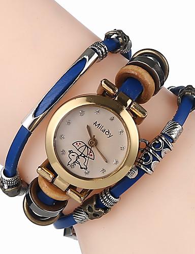 Mulheres Bracele Relógio Chinês Quartzo Venda imperdível Couro Banda Casual Legal Preta Branco Azul Marrom