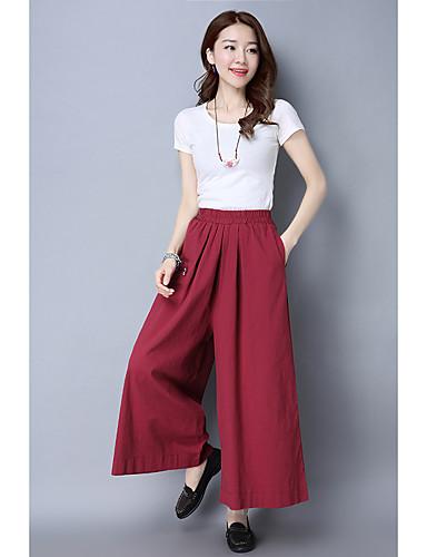 Dámské Jednoduchý strenchy Kalhoty chinos Kalhoty Volné High Rise Jednobarevné