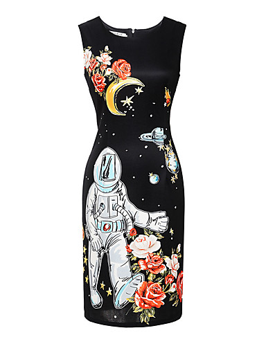 Dámské Vintage Běžné/Denní Plážové Dovolená Bodycon Šaty Květinový,Bez rukávů Kulatý Nad kolena Polyester Spandex Léto High RiseLehce
