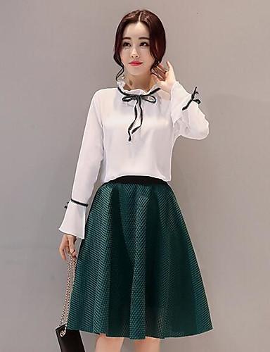 Damen einfarbig Einfach Lässig/Alltäglich T-Shirt-Ärmel Kleid Anzüge,Rundhalsausschnitt Sommer Lange Ärmel