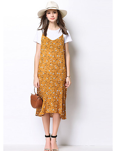 Damen Blumen Alltag Normal T-Shirt-Ärmel Kleid Anzüge,Hemdkragen Frühling Sommer Spitze Mikro-elastisch