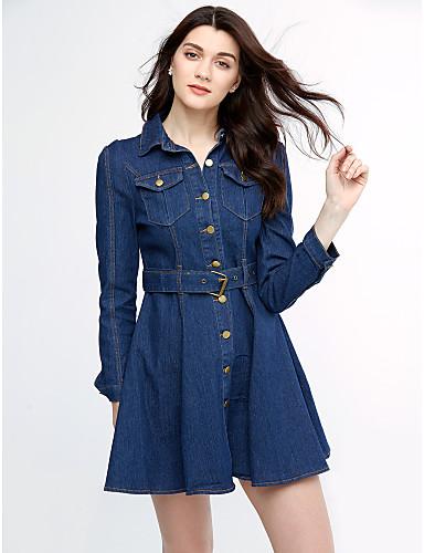 Damen A-Linie Kleid Solide Übers Knie Hemdkragen