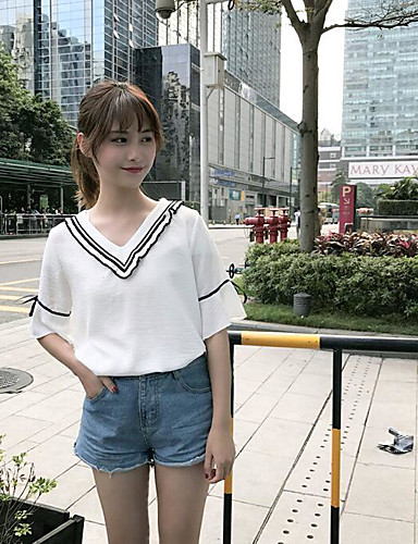 Damen Solide Einfach Lässig/Alltäglich T-shirt,V-Ausschnitt Sommer Kurzarm Baumwolle