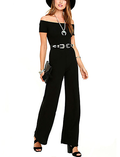 cheap Women's Jumpsuits & Rompers-Women's Off Shoulder Daily Pants / Chic & Modern Boat Neck Black Wine Wide Leg Jumpsuit, Solid Color Pure Color L XL XXL High Rise Short Sleeve Summer