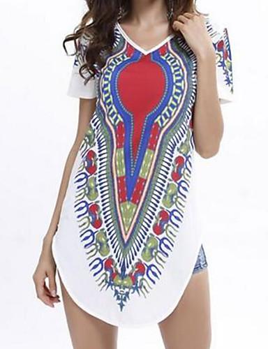 Damen Lose Kleid-Lässig/Alltäglich Einfach Druck V-Ausschnitt Mini Kurzarm Polyester Sommer Mittlere Hüfthöhe Unelastisch Dünn