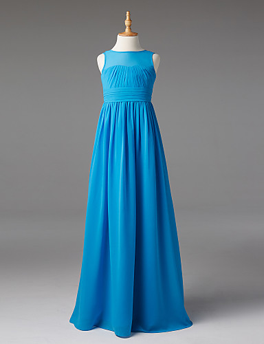 A-Line Boat Neck Floor Length Chiffon Junior Bridesmaid Dress with Sash / Ribbon / Ruched / Pleats by LAN TING BRIDE® / Elegant