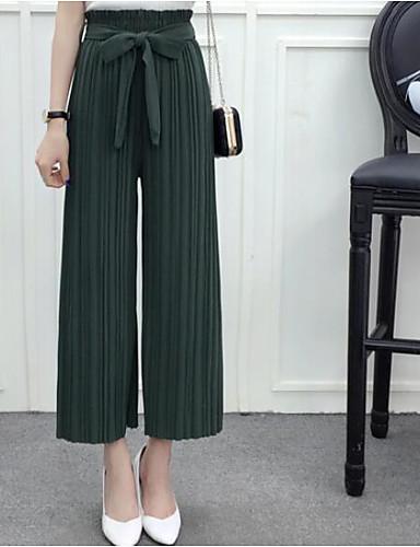 Dámské Jednoduchý Mikro elastické Kalhoty chinos Kalhoty Široké nohavice Mid Rise Jednobarevné