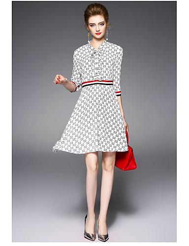 Damen Hülle Kleid-Lässig/Alltäglich Druck V-Ausschnitt Übers Knie Polyester Sommer Hohe Hüfthöhe Mikro-elastisch Dünn
