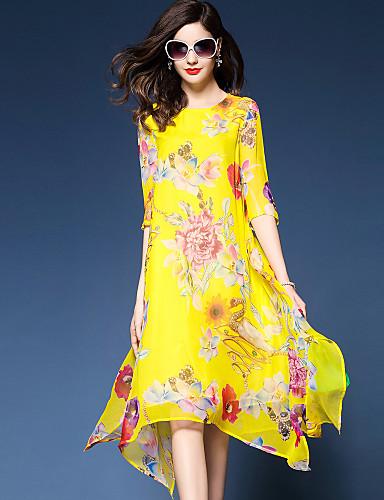 Mulheres Tamanhos Grandes Boho / Sofisticado Solto / Chifon / balanço Vestido - Fashion / Estampado / Chifon, Floral Médio / Floral