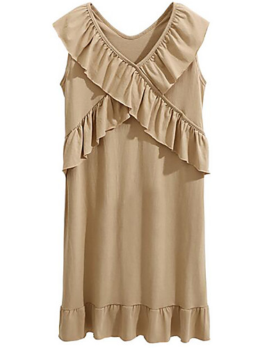 Women's Loose Dress - Solid Colored V Neck