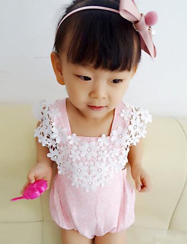 bebê Para Meninas Peça Única Bordado Moderno Cordão Bordado Verão Algodão Sem Manga De Renda Rosa