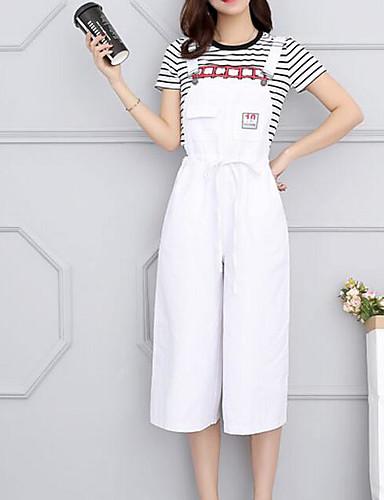 Damen Einfach Hohe Hüfthöhe Mikro-elastisch Jeans Chinos Lose Breites Bein Hose Solide