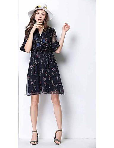 Damen A-Linie Kleid-Lässig/Alltäglich Druck V-Ausschnitt Midi Knielang Baumwolle Sommer Hohe Hüfthöhe Mikro-elastisch Dünn