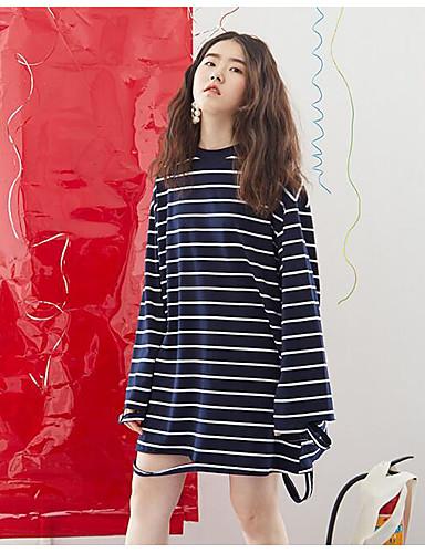 Damen Gestreift Einfach Ausgehen Lässig/Alltäglich T-shirt,Rundhalsausschnitt Frühling Langarm Polyester