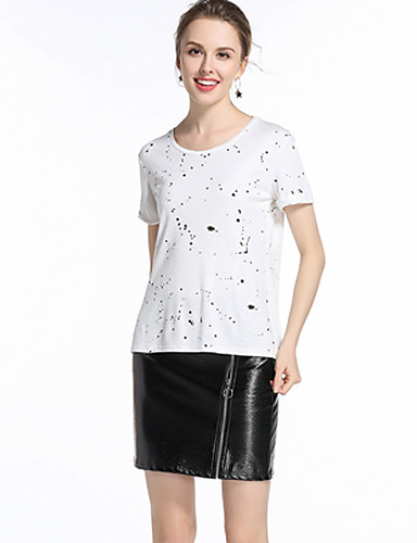 Damen Freizeit T-shirt,Rundhalsausschnitt Sommer Kurzarm Baumwolle