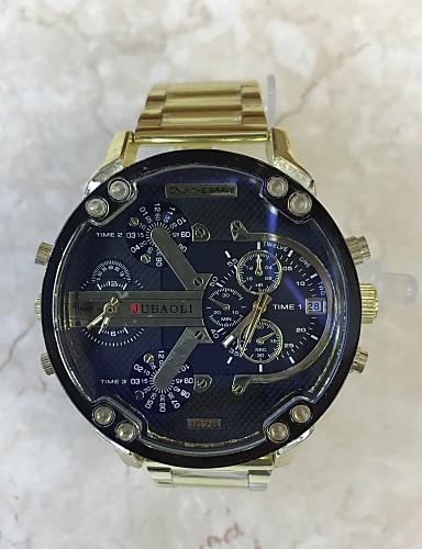 Pánské Sportovní hodinky Vojenské hodinky čínština Křemenný Kalendář Hodinky s dvojitým časem Velký ciferník Nerez Kapela Cool Bílá Zlatá