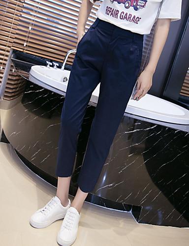 Damen Einfach Mittlere Hüfthöhe Mikro-elastisch Chinos Gerade Hose einfarbig