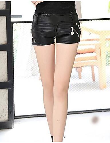 Damen Freizeit Tiefe Hüfthöhe Mikro-elastisch Schlank Kurze Hosen Hose Sommer Solide