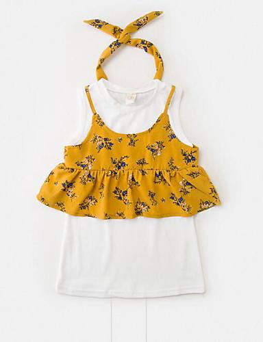 Mädchen Sets Blumen Kunstseide Polyester Sommer Kurzarm Kleidungs Set
