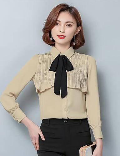 Damen Solide Hemd Baumwolle