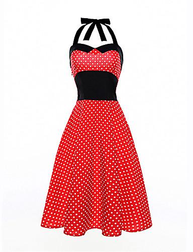 Dámské Plážové Dovolená Vintage Bavlna Pouzdro Swing Šaty - Puntíky Délka ke kolenům Lodičkový High Rise Červená
