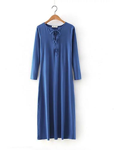 Damen Lose Etuikleid Kleid-Ausgehen Lässig/Alltäglich Einfach Street Schick Solide Rundhalsausschnitt Midi Langarm Seide Baumwolle Sommer