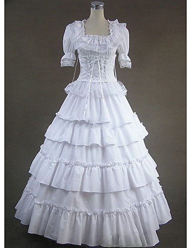 ddc8dfc431a Gothic Victorian Medieval Costume Women s Dress Party Costume Masquerade  White Vintage Cosplay Party Prom Short Sleeve Cap Sleeve Floor Length Plus  Size ...