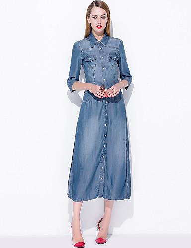 Damen Arbeit Ausgehen Festtage Freizeit Street Schick A-Linie Midi Knielang Kleid Solide Hemdkragen Kurzarm