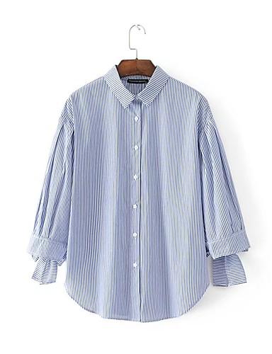 Dámské Proužky Jednoduchý Sexy Šik ven Bez rukávů-Léto Bavlna Košilový límec Dlouhý rukáv Tenké Střední