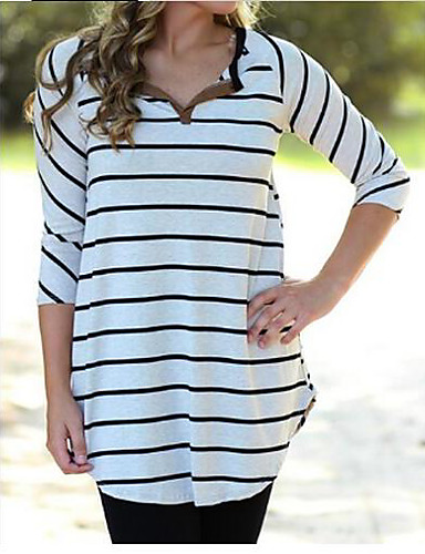 Damen Gestreift Einfach Lässig/Alltäglich T-shirt,V-Ausschnitt Langarm Baumwolle