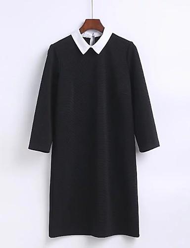 Damen A-Linie Lose Etuikleid Kleid-Ausgehen Lässig/Alltäglich Einfach Street Schick Solide Hemdkragen Übers Knie Langarm Seide Baumwolle