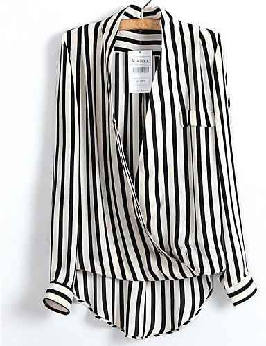 Women's Work Casual / Street chic / Punk & Gothic Shirt - Striped Deep V / Fine Stripe / Sexy