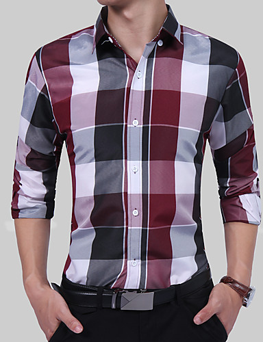 Men's Party / Work Boho / Chinoiserie Plus Size Cotton Shirt - Color Block / Plaid / Check Formal Style / Stylish / Long Sleeve