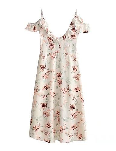 Damen Lose Etuikleid Kleid-Ausgehen Lässig/Alltäglich Einfach Street Schick Blumen Gurt Übers Knie Ärmellos Seide Baumwolle Sommer Herbst
