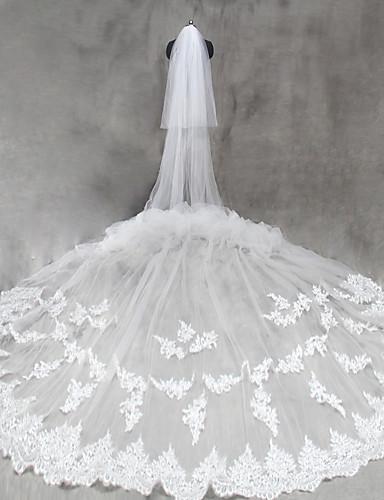 Two-tier Cut Edge الحجاب الزفاف Cathedral Veils مع زينة تول / كلاسيكي
