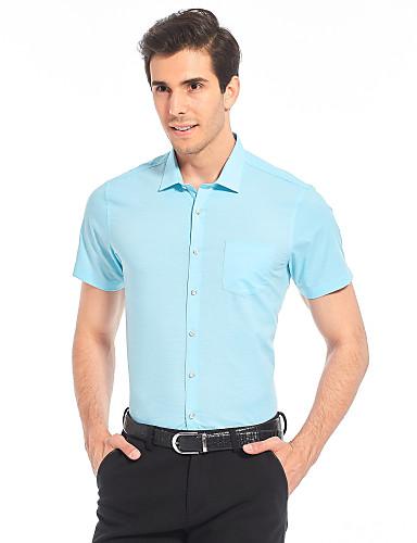 Herren Solide Einfach Arbeit Übergröße Lässig/Alltäglich Hemd,Hemdkragen Sommer Kurzarm Baumwolle Kunstseide Dünn